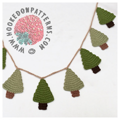 Small image of a crocheted Christmas tree garland with the Hooked On Patterns logo stamp