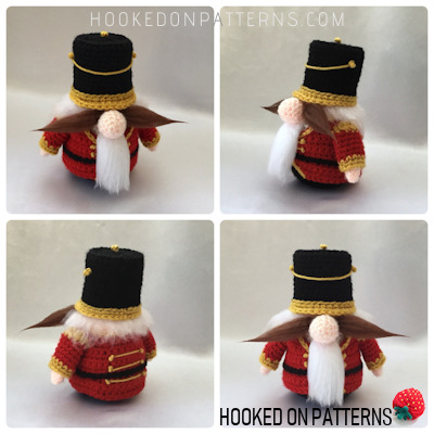 A Crocheted Nutcracker style Gonk Amigurumi image showing multiple views