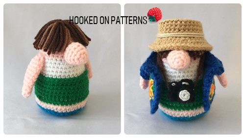 Tourist Gonk Crochet Pattern image of the base Gonk and finished outfit