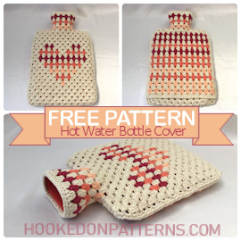 Free Hot Water Bottle Cover Granny Heart Crochet Pattern Featured Image