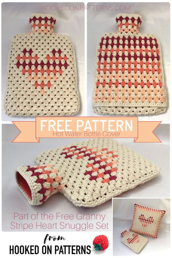 Pinterest image for the Free Hot Water Bottle Cover Granny Heart Crochet Pattern