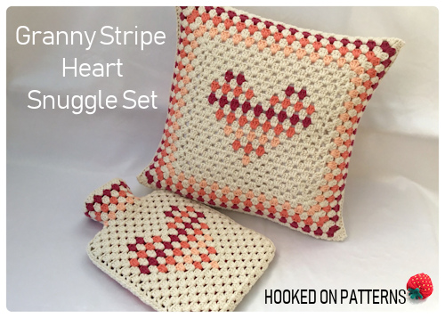 Granny Stripe Heart Snuggle Set Crochet Pattern eBook