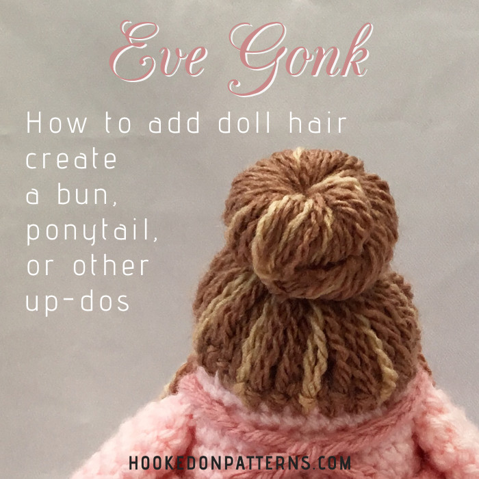 Informational graphic for how to add crochet doll hair