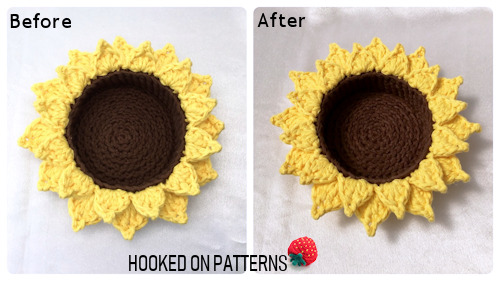 Image showing the Sunflower Basket before and after blocking