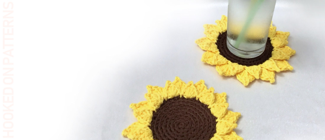 Free Sunflower Coasters Crochet Pattern Featured Image