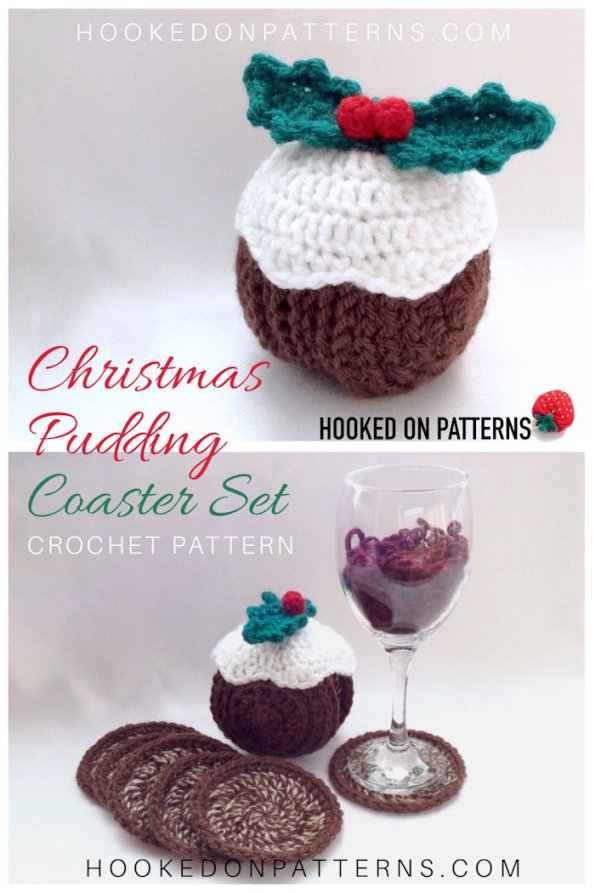 Christmas Pudding Crochet Pattern Coasters Hooked On
