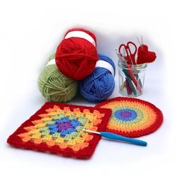 Crochet hooks and yarn