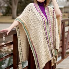 Many Wonders Ruana Wrap Free Crochet Pattern