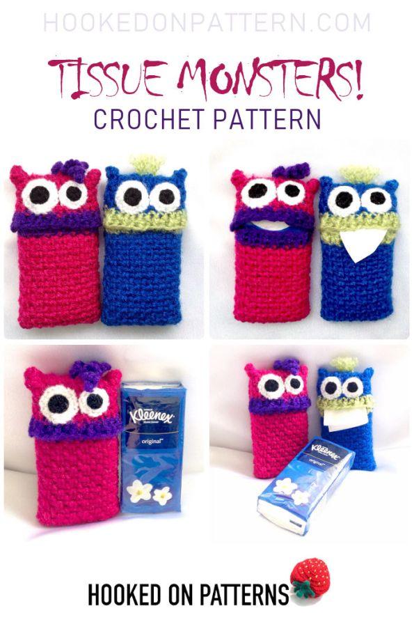 Tissue Monsters Crochet Pattern Pin