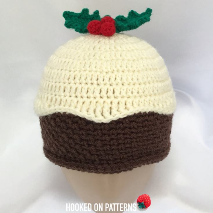 Christmas Pudding Beanie Hat: Free Crochet Pattern