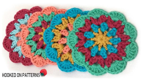Happy Scrappy Coasters Free Crochet Pattern 4 Set