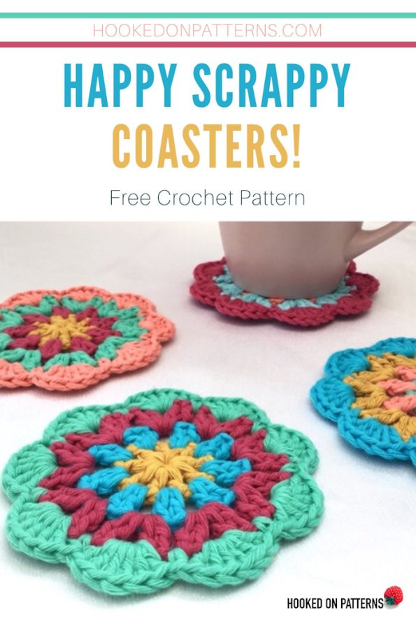 Happy Scrappy Coasters Free Crochet Pattern Pin