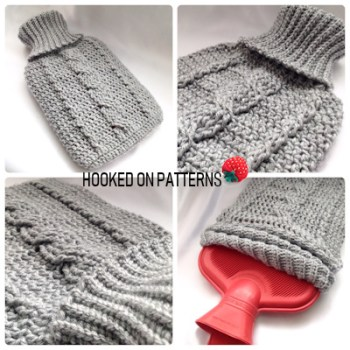 Cozy Cable Hot Water Bottle Cover Crochet Pattern