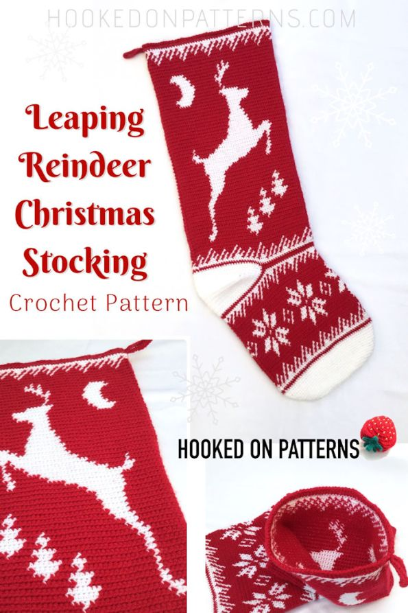 Leaping Reindeer Christmas Stocking Crochet Pattern