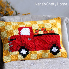 Red Truck Pumpkin Harvest Pillow Free Crochet Pattern