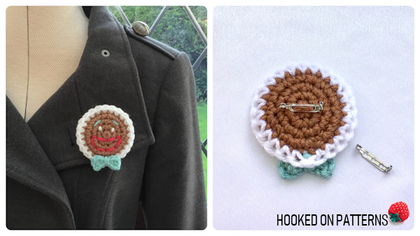 Free Gingerbread Smilies Christmas Ornament Crochet Pattern - Pin Badge