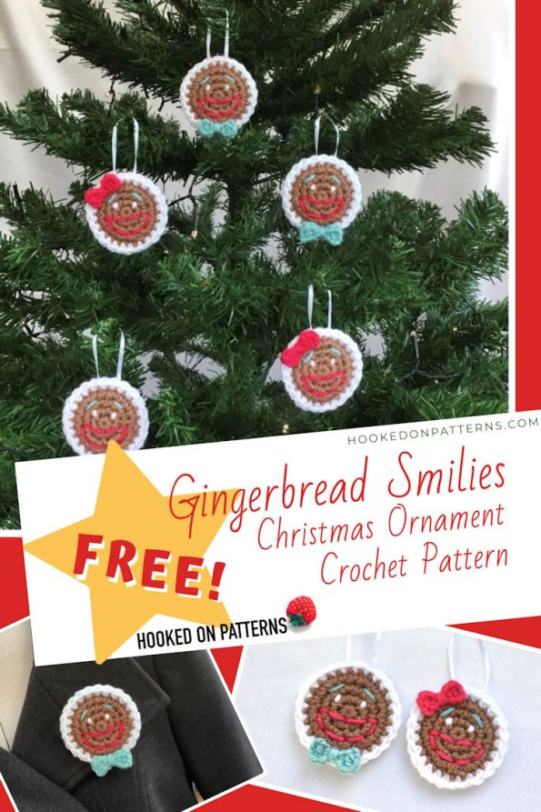 Christmas Ornament Crochet - Free Gingerbread Smilies Pattern Pin