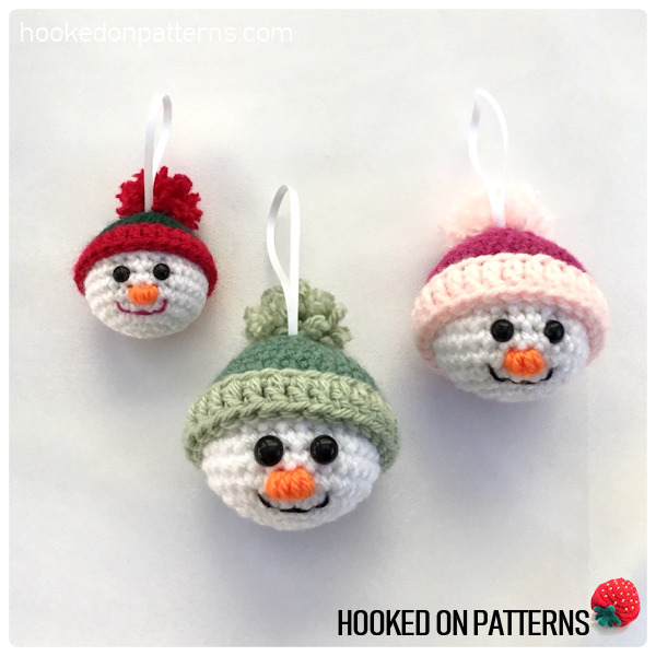 Free Crochet Snowman Baubles Pattern