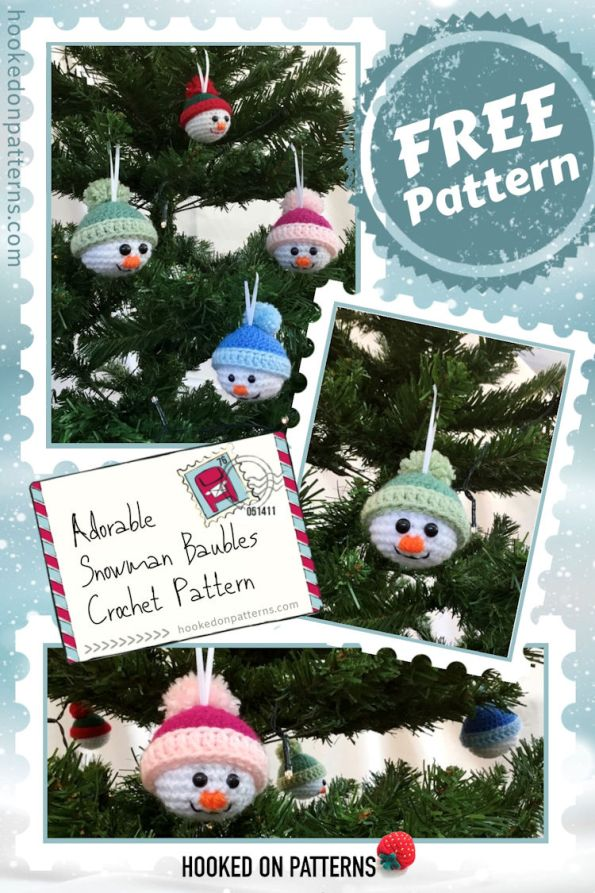 Free Crochet Snowman Baubles Pattern Pinterest Graphic