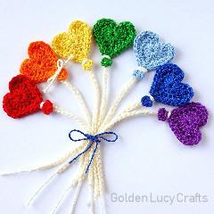 Heart Balloon Appliques Free Crochet Pattern