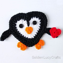 Heart Penguin Applique Free Crochet Pattern