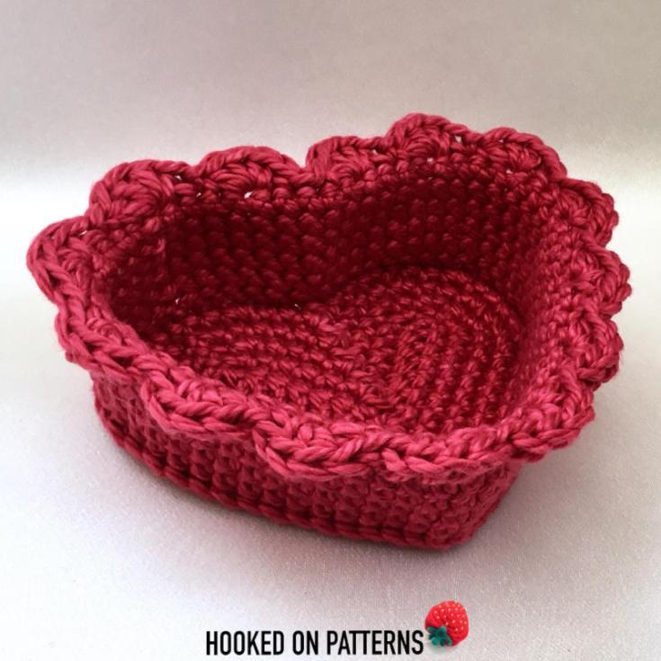 Free Crochet Heart Basket Pattern