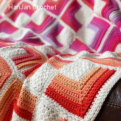Hot Squares Motif Blanket Free Crochet Pattern