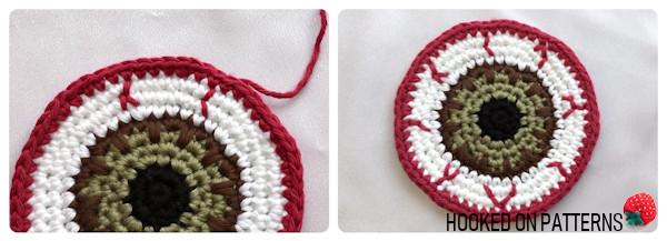 Free Eyeball Coasters Crochet Pattern - Adding Veins