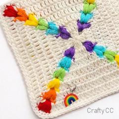 Rainbow Puff Square Free Crochet Pattern