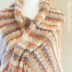 Caramel Fudge Ripple Wrap Free Crochet Pattern