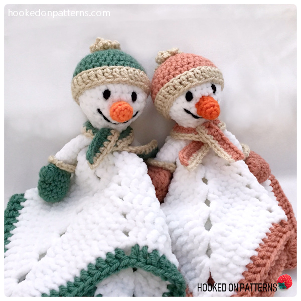 Free Snowman Lovey Crochet Pattern - 2 snowman lovies sitting up together