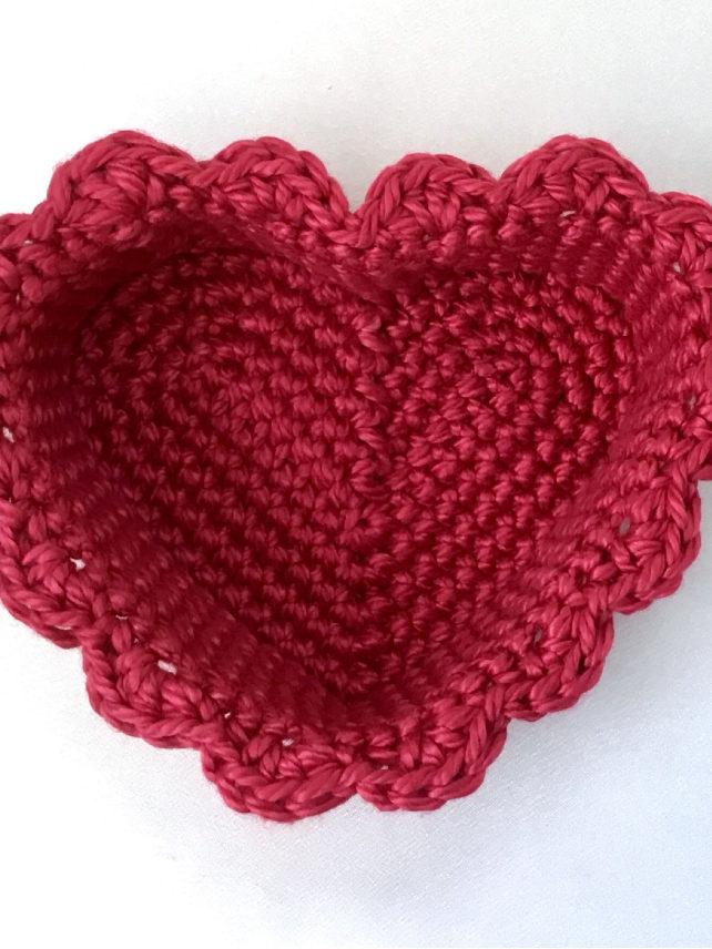 Crocheted Valentine Heart Basket