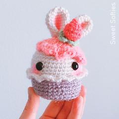 Bunny Rabbit Strawberry Cupcake Free Crochet Pattern