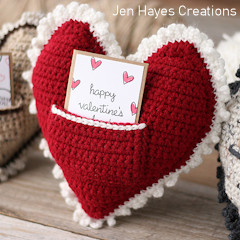 Heart Pocket Pillow Free Crochet Pattern
