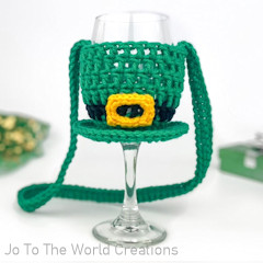 St Patricks Day Wine Glass Lanyard Free Crochet Pattern