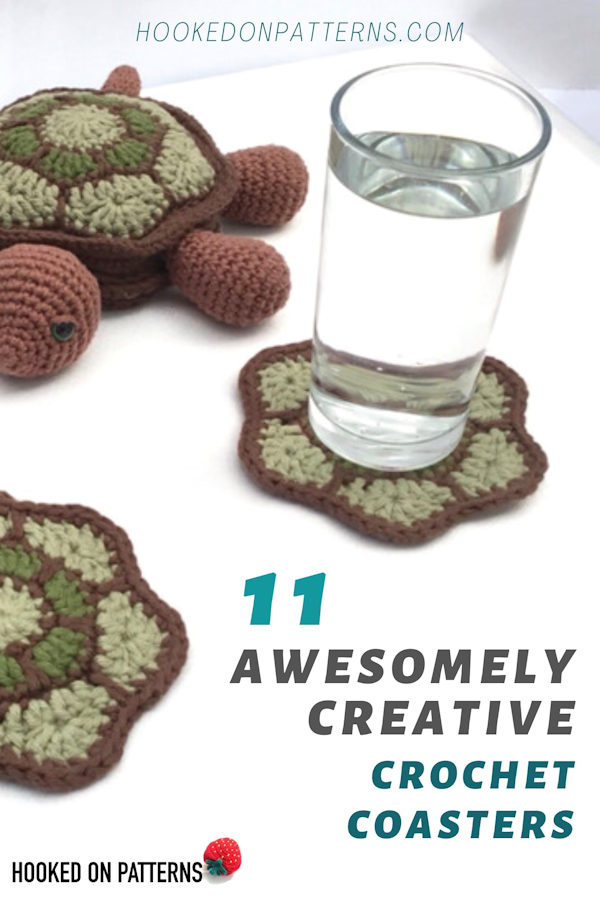 Image of a crocheted turtle coaster set