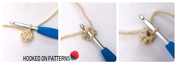 A 3 part instructional image showing the starting and crocheting of the pencil insert