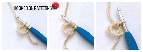 An instructional step by step photo showing how to crochet the mini bean stitch