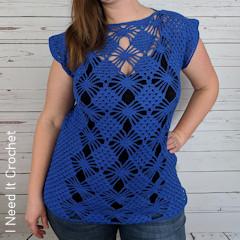 Thumbnail image of the Chasing Diamonds Tunic free crochet pattern