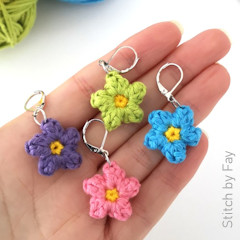 Thumbnail image of the Flower Stitch Markers free crochet pattern