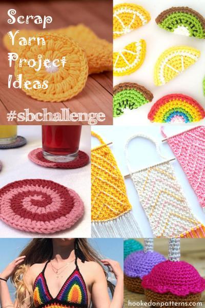 A collage of multiple crochet scrap yarn project ideas