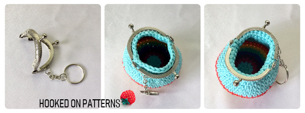A photo showing the kiss clasp frame, how to place it over the rainbow purse, and how to glue it into place