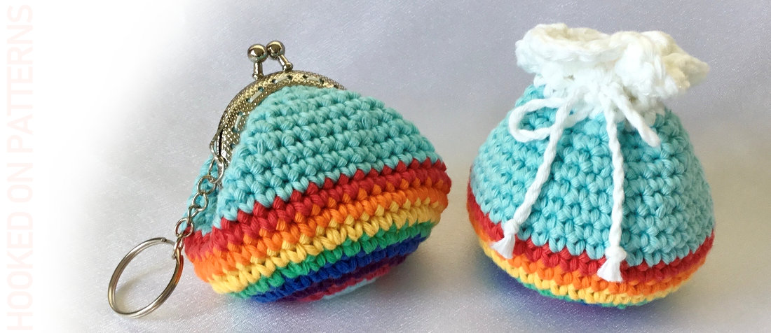 A close up header image showing both the crocheted rainbow purse and rainbow pouch