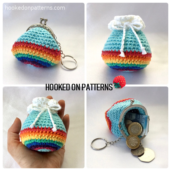 4 photos showing the finished crochet rainbow purse in both the kiss lock clasp version, and the cloud topped drawstring version