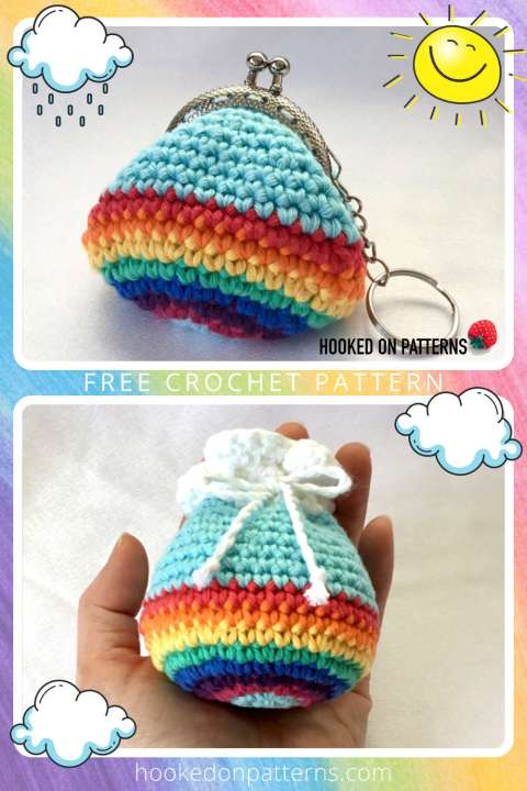 A colourful rainbow themed graphic Pinterest Pin with photos of the completed crochet rainbow kiss clasp purse and the rainbow cloud topped drawstring pouch