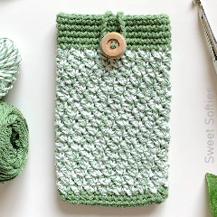 Thumbnail image of the Sage Phone Pouch free crochet pattern