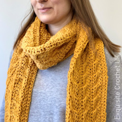 Thumbnail image of the Tunisian Winding Cables Scarf free crochet pattern