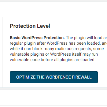 A screenshot of the Optimize The Wordfence Firewall option for blocking print friendly websites