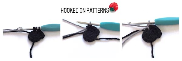 A step by step instructional image of joining new colours, when crocheting koala coasters.