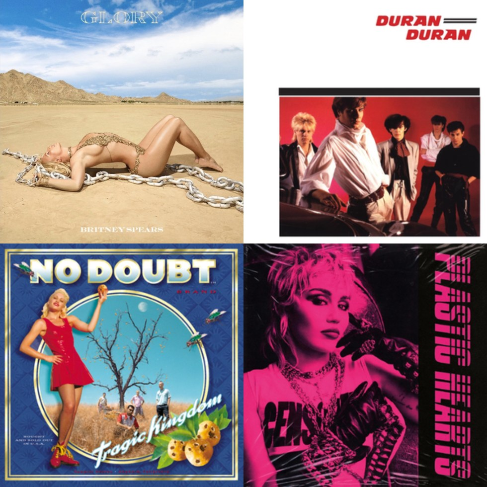 This image displays album covers of the artists I am featuring in the post, in this order: Britney Spears' Glory album, Duran Duran's Duran Duran album, No Doubt's Tragic Kingdom album and Miley Cyrus' Plastic Hearts album